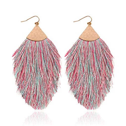 RIAH FASHION Bohemian Silky Thread Tassel Statement Drop Earrings - Strand Fringe Lightweight Feather Shape Hook Dangles/Fan Threader/Triangle Duster (Petal Tassel - Multicolor)