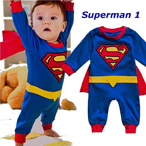 Baby Superhero Jumpsuit With Removable Cape (3-6 Months, Superman1) (Superman Baby Costumes)