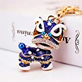 Wanrane Women's Supplies Modern Stylish Pendant Chinese Style Kirin Pendant Metal Keyring Purse Hand Bag Keychain Gift (Blue)
