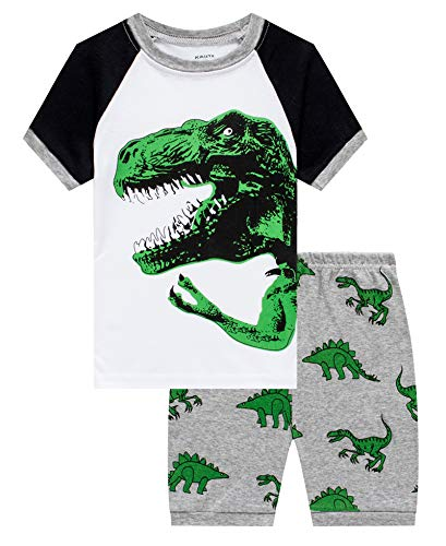 KikizYe Dinosaur Little Boys' 2 Piece Pj Short Sets Pants Pjs 100% Cotton Size 7