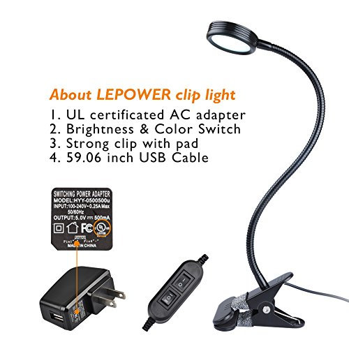 LEPOWER Clip on Light/Reading Light/Light Color Changeable/Night Light Clip on for Desk, Bed Headboard and Computers (Black) by LEPOWER (Image #4)