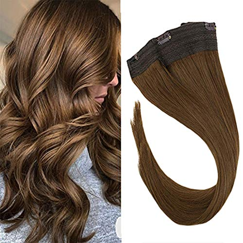 Sunny Brown Remy Human Hair Halo Extensions 16Inch Solid Color #6 Medium Brown Secret Fish Line Hairpiece for Women Halo Hair Extensions 80g
