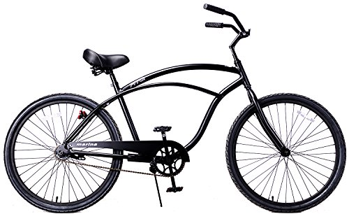Fito Men's Marina Aluminum Alloy 1-Speed Beach Cruiser Bike, Matte Black, 18″ x 26″/One Size For Sale