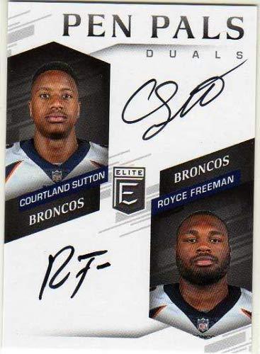 2018 Elite Pen Pals Duals #PPD-DEN Courtland Sutton/Royce Freeman Autograph Card - Denver Broncos