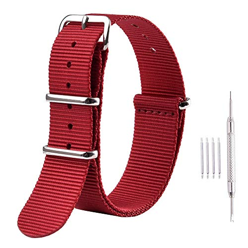 Ritche Premium NATO Strap 18mm 20mm 22mm Nylon Replacement Watch Band for Men Women (Red, 18mm)
