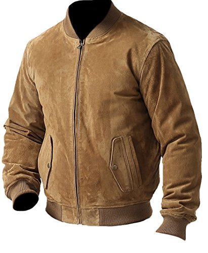 coolhides Men's Fashion Suede Leather Bomber Jacket Suede Brown Large