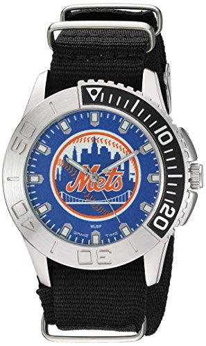 Game Time Men's 'Starter'  Metal and Nylon Quartz Analog  Watch, Color:Black (Model: MLB-STA-NYM) (Mets New Watch York)