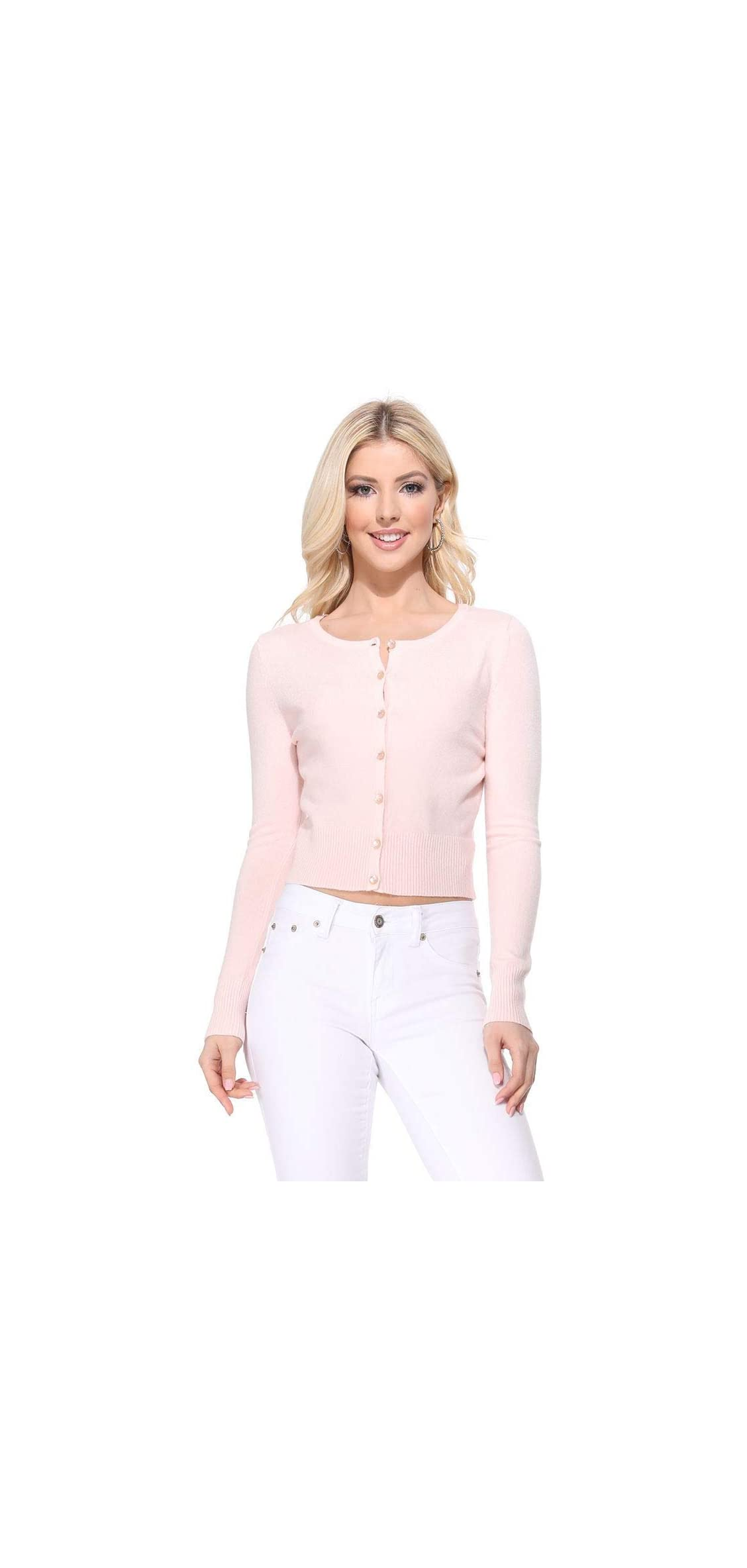 Women's Long Sleeve Crewneck Cropped Button Down Cardigan