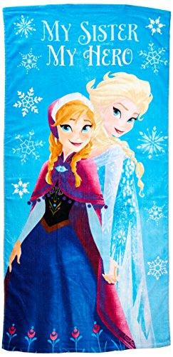 Disney Frozen My Sister My Hero Kids Bath/Pool/Beach Towel - Featuring Anna and Elsa - Super Soft & Absorbent Fade Resistant Cotton Towel, Measures 28 inch x 58 inch (Official Disney Product)