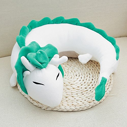 Youdirect Dragon U Shaped Pillow Dragon Plush Doll Stuffed Dragon Toy Anime Cute White Dragon Japanese Animation Pillow