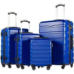 COOLIFE Luggage 3 Piece Set Suitcase Spinner Hardshell Lightweight TSA Lock (Family Set-blue1)