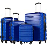 COOLIFE Luggage 3 Piece Set Suitcase Spinner Hardshell Lightweight TSA Lock (Family Set-blue1)