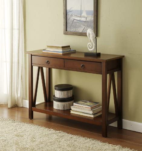 FurnitureMaxx Titian Wood Console Table- Antique Tobacco