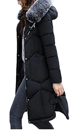 4d816551a76 Amazon.com  Domple Women Winter Faux Fur Hood Pockets Long Down Puffer Quilted  Coat Overcoat Plus Size  Clothing