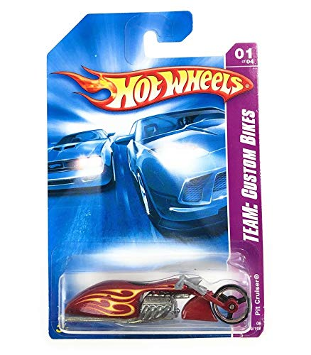 - Hot Wheels Motorcycle Bikes 1/64 Scale Die Cast Cars (2008 Team: Custom Bikes Pit Cruiser 149/196 Red with Flames)