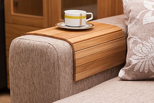 """Natural Oak Sofa Side Tray Table - Wood Armrest Tray - Sofa Tray Table - Surface For Coffee/Meals/Laptop - 22.5"""" x 14"""""""