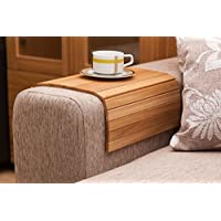 Natural Oak Sofa Side Tray Table - Wood Armrest Tray – Sofa Tray Table - Surface For Coffee/Meals/Laptop - 22.5 x 14