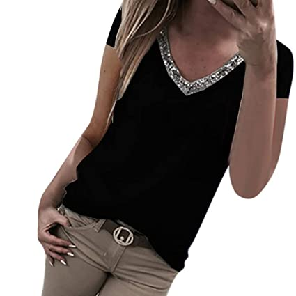 fbf5ab52eed0dd Amazon.com   LtrottedJ Blouse Fashion Women Casual Sexy Sequins ...