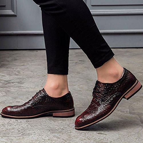 Lacet Microfibre Business Luxueux Mode Commercial Soulier Bout Délicat Transparent Homme Faux Croco Pointu Rouge Derby Chaussures Feidaeu xZpHq