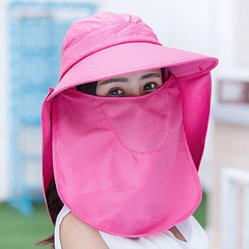 UVカット 帽子 つば広 日よけ帽子 フェイスカバー付 サンバイザー 日焼け 紫外線対策 ハット ネックカバー レディース