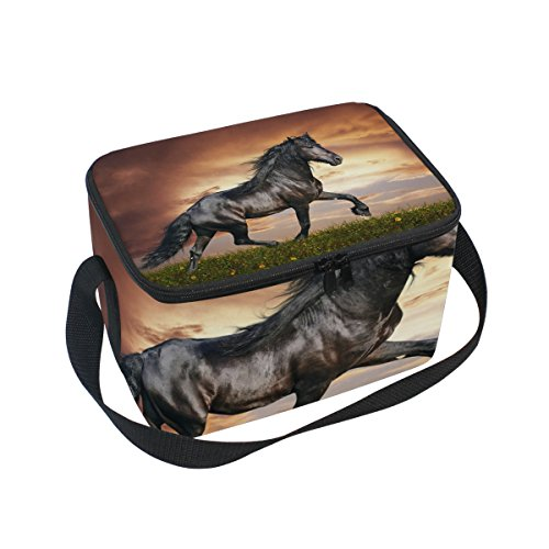 LORVIES Arabian Horse Insulated Lunch Box Bag Cooler Reusable Tote Bag with Adjustable Shoulder Strap for Women Men by LORVIES