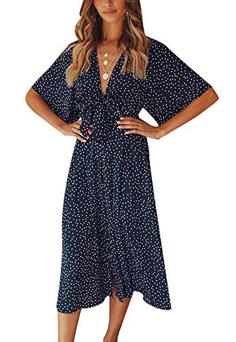 Knot Swing Dress (Eleter Women's Boho Polka Dot Tie Knot Front V-Neck Short Sleeve Swing Casual Party Midi Dress (M,Navy Blue))