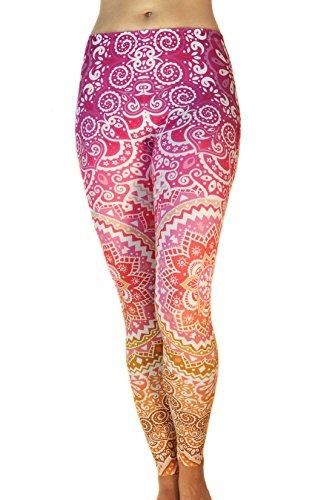 Comfy Yoga Pants - Dry Fit - Slimming Mid Rise Cut - Printed Yoga Leggings (Mandala Apricot) (Cute Halloween Print Outs)