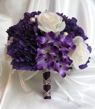 Amazon Com Wedding Bouquet Bridal Silk Flowers Purple Cream Plum