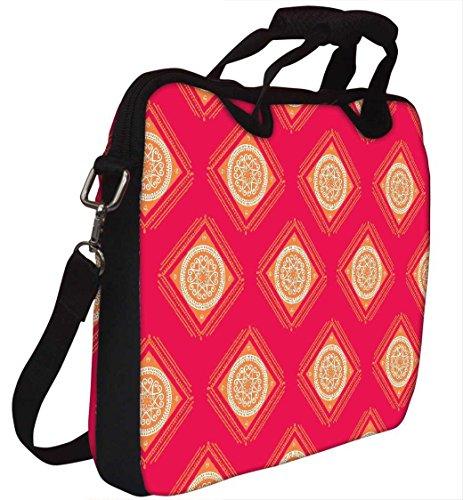 Snoogg Abstraktes gelb rosa Muster 30,5cm 30,7cm 31,8cm Zoll Laptop Notebook Computer Schultertasche Messenger-Tasche Griff Tasche mit weichem Tragegriff abnehmbarer Schultergurt für Laptop Tablet