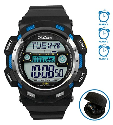 Digital Sports Watch Water Resistant 100M 3 Alarm 60 lap Dive Dual Time Black Resin Men's 1002
