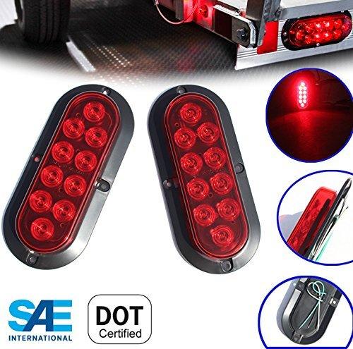 "KT 2 Red Oval Oblong 6"" Surface Mount LED Brake Stop Turn Tail Light Trailer Truck RV Sealed"