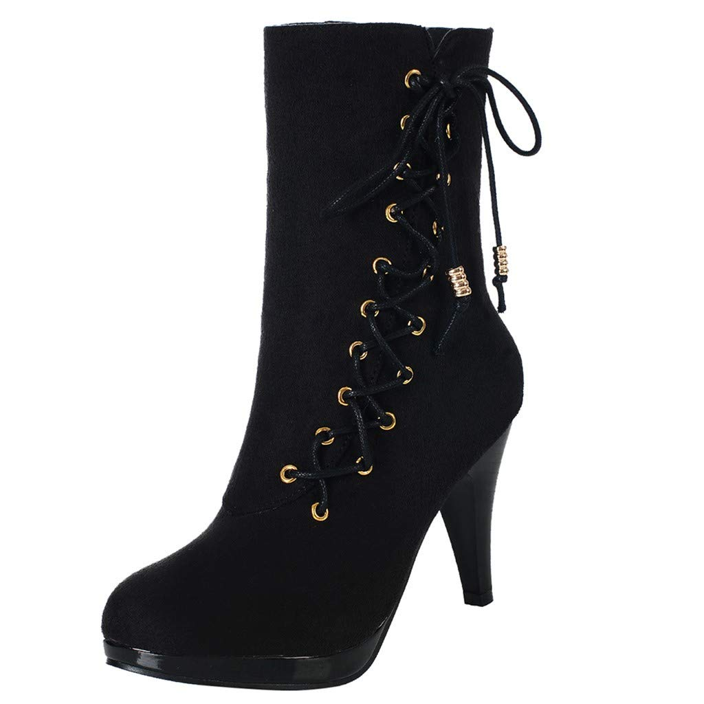 RedBrowm-women Rome Solid High Heel Thin Zipper Warm Flock Ankle Boots Round Toe Shoes