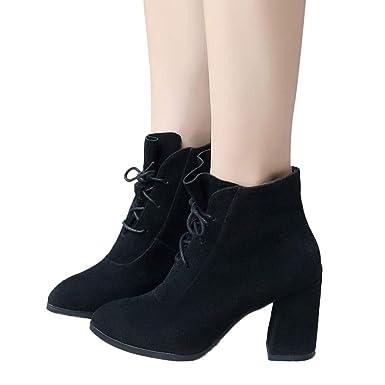 0940ad59d8f624 TianWlio Boots Stiefel Schuhe Stiefeletten Frauen Herbst Winter Spitzschuh  mit Hohem Absatz Volltonfarbe Wildlederstiefel Schnürstiefel Weihnachten
