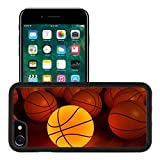 Luxlady Premium Apple iPhone 7 Aluminum Backplate Bumper Snap Case iPhone7 IMAGE ID 1194874 basketball glow game ball over the hardwood floor 3D
