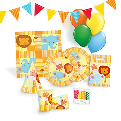 (Jungle Party Supplies Set for 12 - Birthday Party Kit Includes Cups, Plates, Napkins, Balloons, Hats, Favor Bags, Candles and Banner)