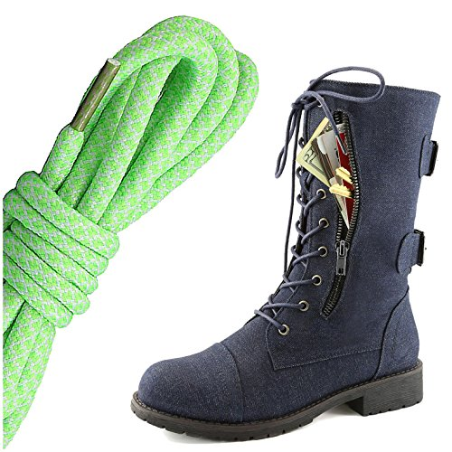 DailyShoes Womens Military Lace Up Buckle Combat Boots Mid Knee High Exclusive Credit Card Pocket, Lime White Blue Denim
