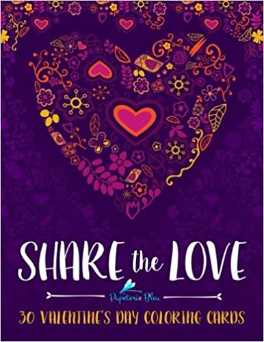 share the love 30 valentines day coloring cards diy greeting card kits