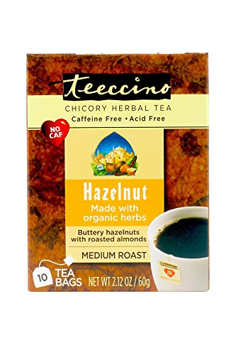 Teeccino Hazelnut Chicory Herbal Tea Bags,Caffeine Unshackled, Acid Free, 10 Count (Pack of 6)
