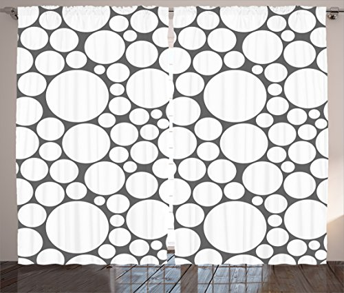 Circle Geometric Curtains 2 Panel Set by Ambesonne, Gray White Retro Pattern with Large Small Round Dots Abstract Art Print, Living Room Bedroom Decor, 108W X 90L Inches, Dark Grey - 108