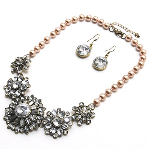 Alloy Gold-Toned Resin Stone Statement Necklace W/Earring Set Blue (Bronze / Flowers)