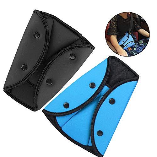 Seatbelt Adjuster,Shoulder Neck Strap Protector Positioner Locking Clip,Comfort Universal Vehicle Car Seat Belt Safety Covers for Adult Kids(2 Pack) (Blue+Black)
