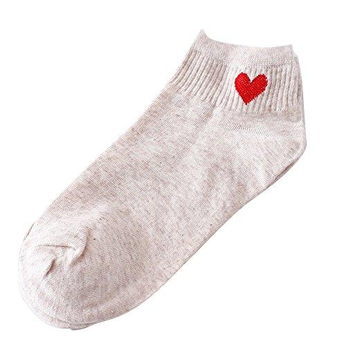 Women Socks Ankola Fashion Heart-Shaped Sock Comfortable Socks Comfortable Gift Idea For Mother, Wife, or Friend (Free Size, Beige) by Ankola-Socks (Image #2)