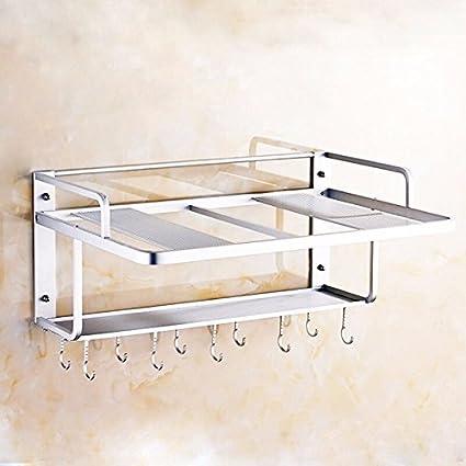 lzzfw Space Aluminum - Horno de microondas de doble capa, rack, cocina de pared
