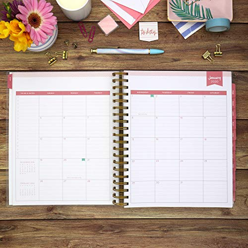 "Day Designer for Blue Sky 2020 Daily & Monthly Planner, Frosted Flexible Cover, Twin-Wire Binding, 8"" x 10"", Navy Stripe"
