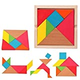 Wishkey Wooden Tangram 7 Piece Puzzle Square I.Q. Development Game Brain Teaser Intelligent Blocks Educational Toy Good Gift for Kids
