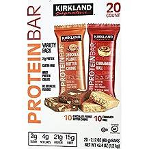 Kirkland Signature Protein Bars Cinnamon Roll / Chocolate Peanut Butter Chunk 20/2.1 Oz (2.625 Lbs), 42.4 Ounces