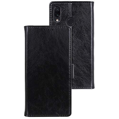 Lusheng Redmi Note 7 Leather Wallet Case, [Nappa Series] Classic Flip Case [Credit Card Slot] Iron Magnetic Buckle Closure PU Slim Protective Cover for Xiaomi Redmi Note 7 6.3