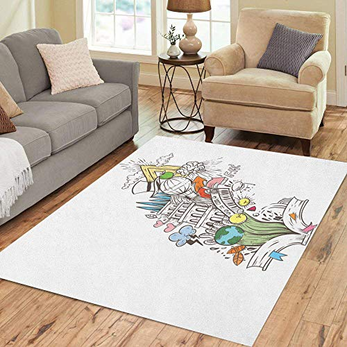 Semtomn Area Rug 3' X 5' Story Book Fantasy Fairy Tale Dream Magic Education Textbook Home Decor Collection Floor Rugs Carpet for Living Room Bedroom Dining Room