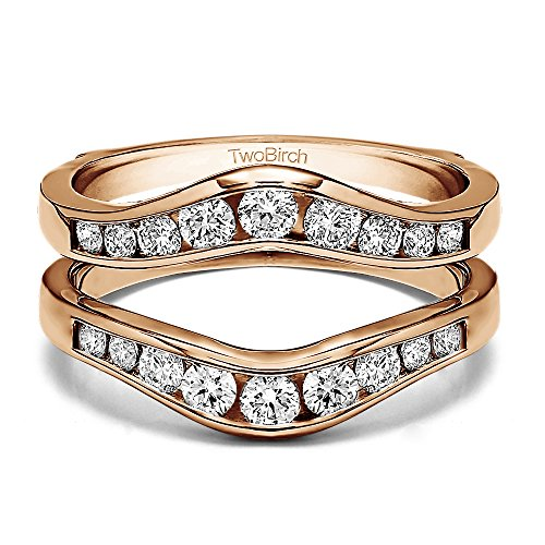 Graduated Contour Style Ring Guard with Diamonds (G-H,I2-I3) in Rose Gold Plated Sterling Silver (0.48 ct. twt.) by TwoBirch