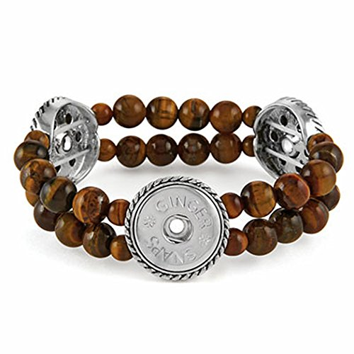 Ginger Snaps 3 Snap Stretch Tiger's Eye (Silver Gallery Turquoise Bracelet)